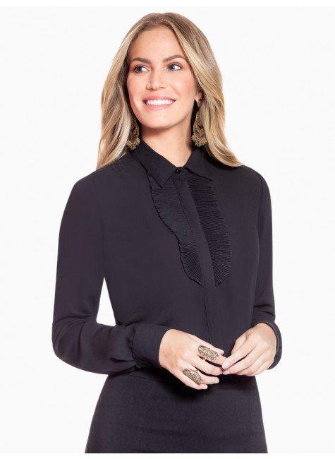 camisa social preta com plissados principessa lindsey frente