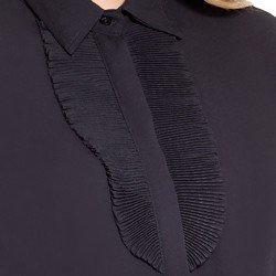 camisa social preta com plissado principessa lindsey detalhes