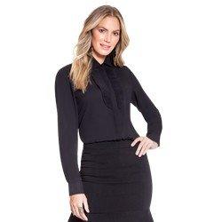 camisa social preta com plissado principessa lindsey geral