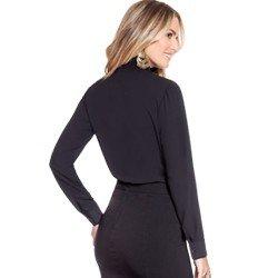camisa social preta com plissado principessa lindsey modelagem
