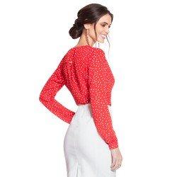 camisa de poa vermelha principessa caterin modelagem