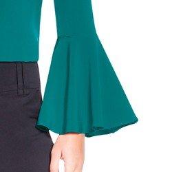 blusa verde com gola laco principessa brigitti detalhes