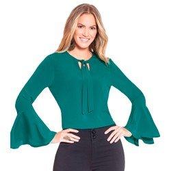 blusa verde com gola laco principessa brigitti geral
