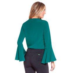 blusa verde com gola laco principessa brigitti modelagem