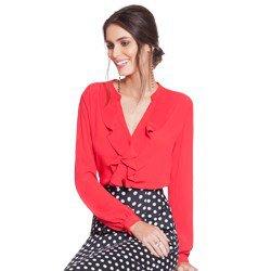 camisa feminina vermelha com babados principessa lissa geral