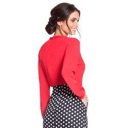 camisa feminina vermelha com babados principessa lissa modelagem