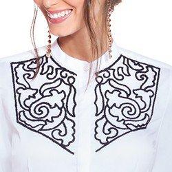 camisa social feminina branca com bordado preto principessa magda bordado
