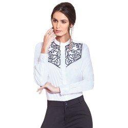 camisa social feminina branca com bordado preto principessa magda geral