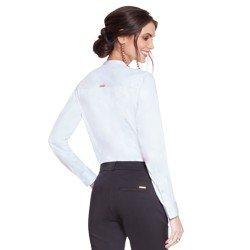 camisa social feminina branca com bordado preto principessa magda modelagem