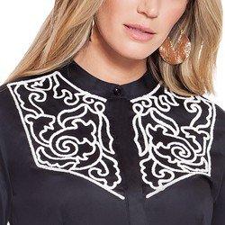 camisa social feminina preto com bordado branco principessa antonieta bordado