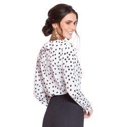 blusa branca de poa preto principessa cida modelagem