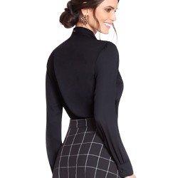 camisa social preta com transparencia e guipir principessa martha modelagem