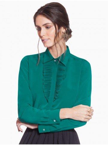 camisa social verde com plissados principessa milena frente