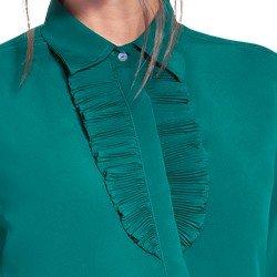 camisa social verde com plissados principessa milena detalhe