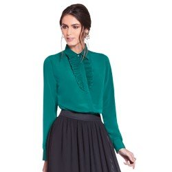 camisa social verde com plissados principessa milena geral
