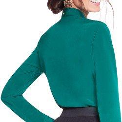 camisa social verde com plissados principessa milena modelagem