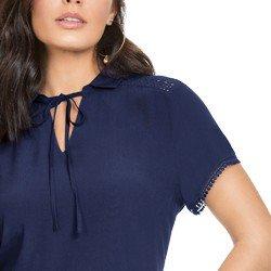 blusa marinho com detalhes em guipir principessa valencia detalhes