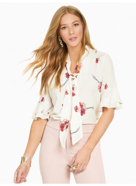 d6b630ccaac3 Blusa Off White Floral com Gola Laço Principessa Carmen