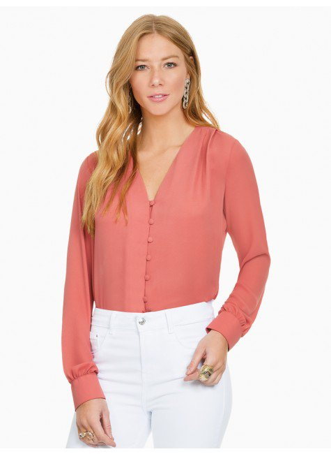 camisa feminina coral principessa brianna frente