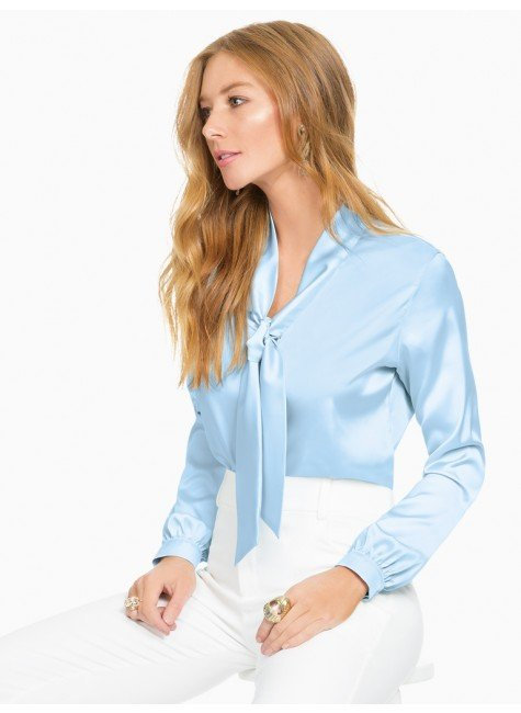 blusa de cetim azul principessa elizabet frente