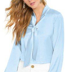 blusa de cetim azul principessa elizabet decote laco