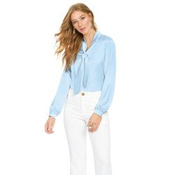 blusa de cetim azul principessa elizabet geral