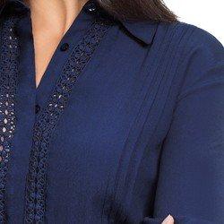 camisa social feminina marinho com detalhes em guipir principessa ramona detalhedesc