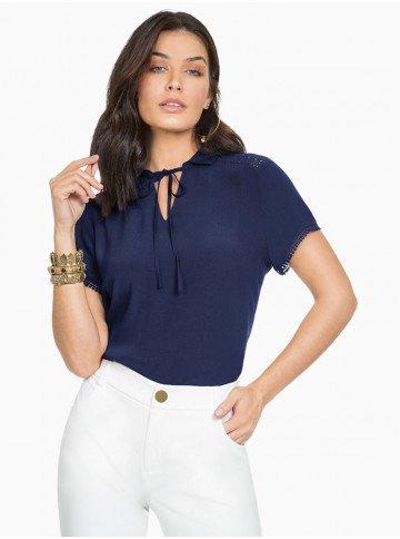 blusa feminina marinho com detalhes em guipir principessa valencia frente
