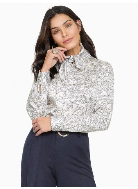 camisa social de cetim estampado principessa franciane frente