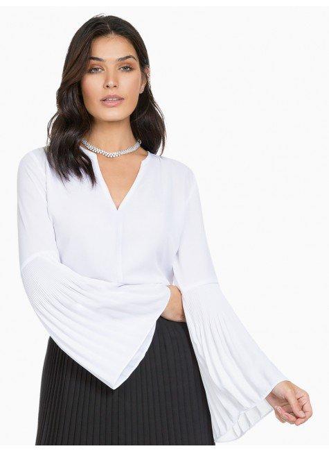 blusa com mangas plissadas branca principessa cler frente