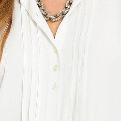 camisa social com pregas gola rendada off white principessa veronica BOTOES TRIPLO