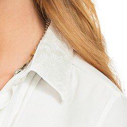 camisa social com pregas gola rendada off white principessa veronica RENDA GOLA