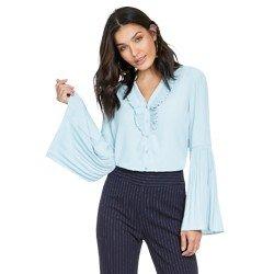 camisa feminina azul com plissados principessa michelle geral