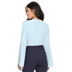 camisa feminina azul com plissados principessa michelle modelagem
