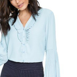 camisa feminina azul com plissados principessa michelle DETALHES