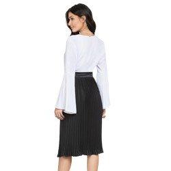 blusa feminina branca com plissados principessa cler modelagem