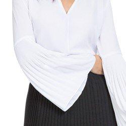 blusa feminina branca com plissados principessa cler DETALHES