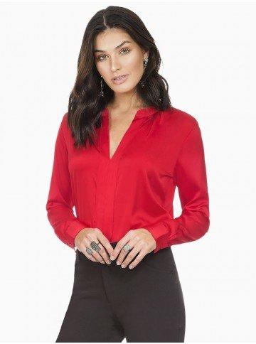 blusa feminina de cetim vermelha principessa alessa frente