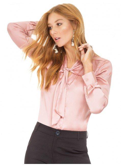 034b404e4 camisa rose feminina gola laco cetim principessa miriam  camisa de cetim  rose principessa miriam frente2 ...
