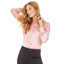 6d28b6375 Camisa Rosa Antigo Feminina de Cetim Principessa Miriam