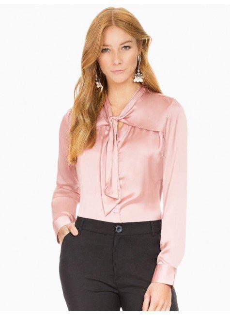 camisa rose feminina gola laco cetim principessa miriam