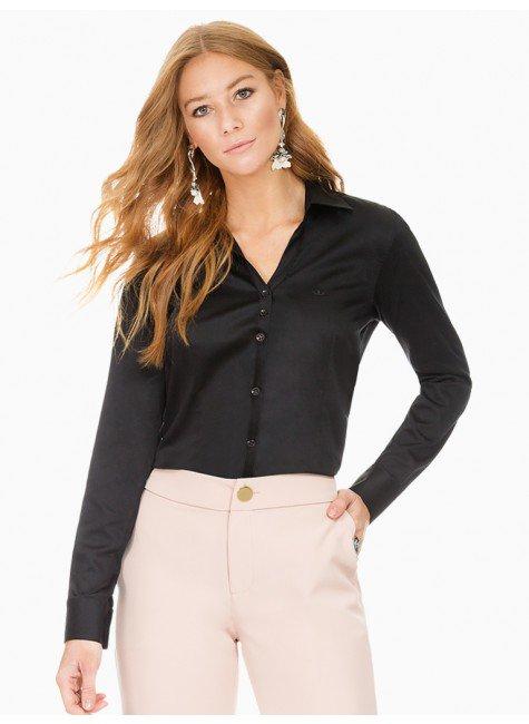 camisa social decote v preto principessa mardjane frente
