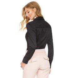 camisa social decote v preto principessa mardjane modelagem