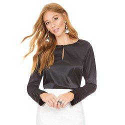 blusa de cetim preta principessa lizandra geral