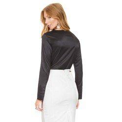 blusa de cetim preta principessa lizandra modelagem