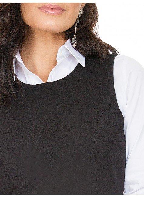 e775a5aa30bd ... vestido de alfaiataria preto justo principessa claudete frente com  camisa detalhe ...
