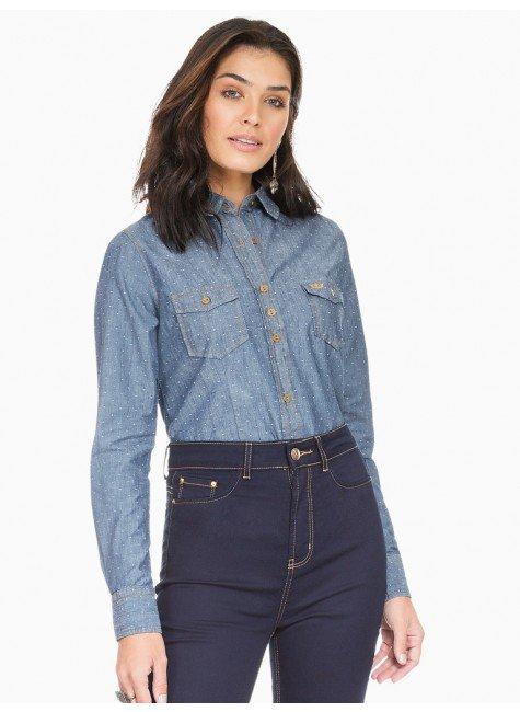 camisa social jeans maquinetada principessa emma frente