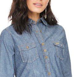 camisa social jeans maquinetada principessa emma detalhes