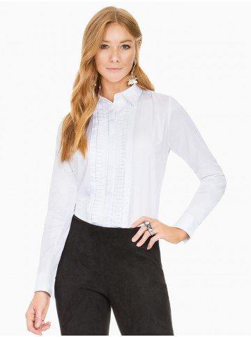 camisa social feminina com drapeados branca principessa benita frente