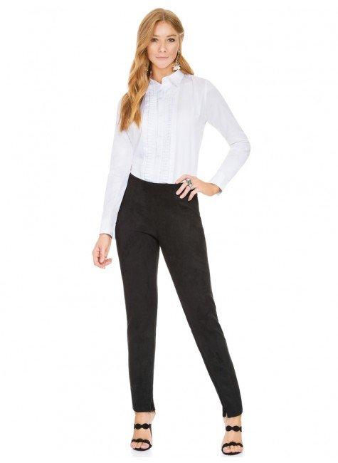 bd9cbbeede ... camisa social feminina com drapeados branca principessa benita frente  total ...